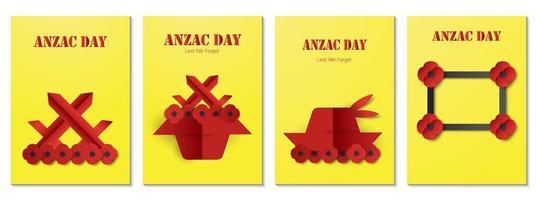 paquete de póster para el día de anzac vector