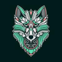 Colorful Geometric Metal Wolf vector