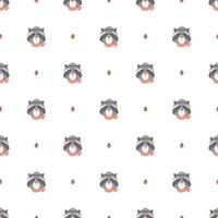 Seamless Pattern with Cute Raccoon
