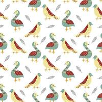 Seamless Pattern with Flat Style Bird Designs  vector