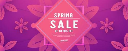 banner di vendita floreale primavera rosa e viola