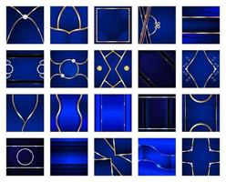 Collection of Square Abstract Blue and Gold Backgrounds  vector