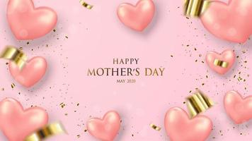 3D Hearts Mother's Day background