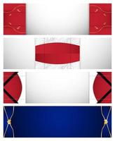 Abstract Red Blue and White Banner Set  vector
