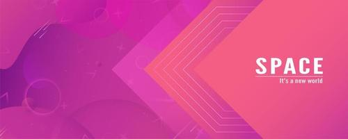 Pink Gradient Geometric and Fluid Shapes Banner  vector