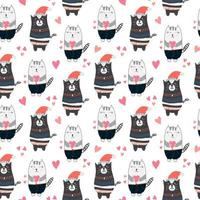 Kids Pattern with Cute Cats with Hearts