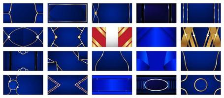 Collection of Blue and Gold Luxury Abstract Backgrounds  vector