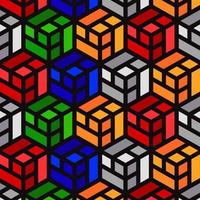 Colorful Cube Grid Pattern Designs vector