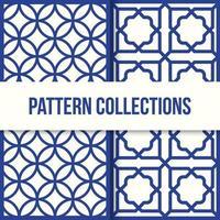 padrões geométricos tradicionais azuis vetor