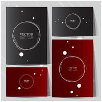 Black and red card set with white wavy circle designs vector