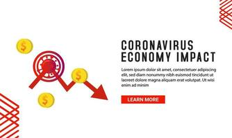 modelo de banner de impacto de economia de coronavírus vetor