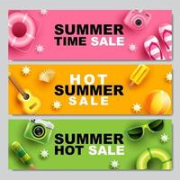 Colorful Horizontal Summer Sale Banner Set vector