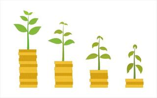 Plants growing out of stacks of coins vector