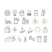 coleção de ícone de linha fina de ecologia