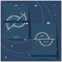 Blue background set with white half circle design vector