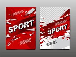 conjunto de carteles de deporte grunge rojo y blanco vector