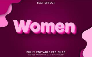 efeito de texto de mulheres cor de rosa vetor