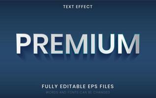 Efeito de texto prateado premium 3D vetor