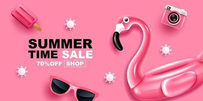 bannière de vente heure d'été avec flamant rose