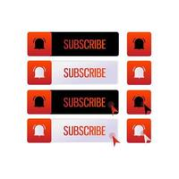 Set of Red and Black Subscribe Buttons