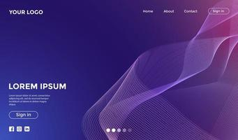 Landing Page with Purple Mesh Waves vector