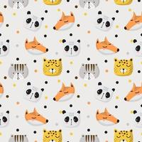 Seamless Pattern of Cute Animal Faces  vector