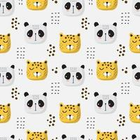 Seamless Pattern of Tiger and Panda Heads