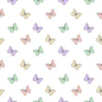 Seamless Pattern with Pastel Butterflies  vector