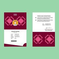 carte d'identité rose avec cercle en forme de diamant