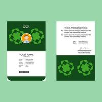 Green ID Card with Abstract Geometric Shape