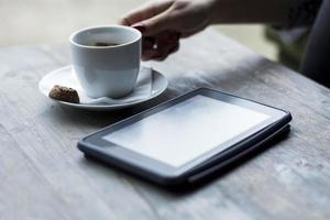 Tablet and coffee