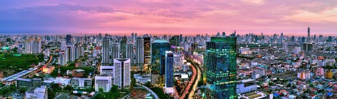 Panorama view of Bangkok city scape at sunset, Thailand photo