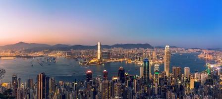 vista panorámica de hong kong y kowloon foto
