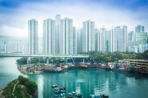 vista aérea del puerto de hong kong foto