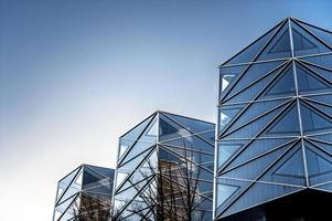 Geometric angles of modern buildings. Outdoors.