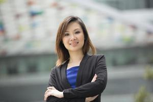 Asian businesswoman standing outside.