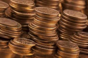 tiro macro de monedas de oro foto