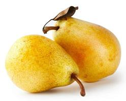 Two yellow pears with leaf photo