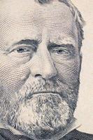 The face of Grant the dollar bill macro photo