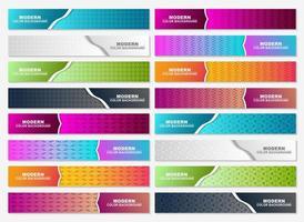 Brightly colored horizontal web header set vector