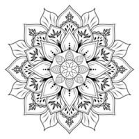 Flower mandala with vintage floral outline style