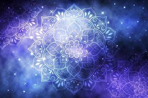 Mandala di fiori su sfondo blu galassia