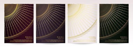 Golden Geometric Abstract Circle Pattern Poster Set