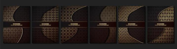 Brownand gold  geometric pattern cover set vector