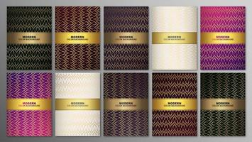 Luxury premium cover set with golden geometric pattern vector