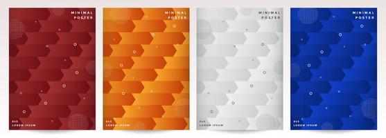Cover set with abstract geometric arrow pattern vector