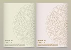Minimal poster set with connected circle design vector