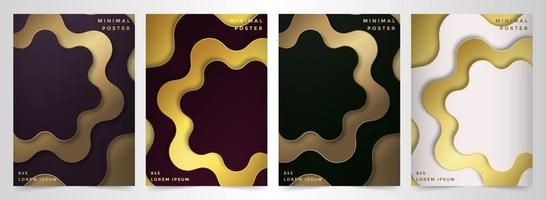 Minimal poster set with golden floral shapes