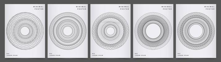 Modern poster set with gray geometric circle design