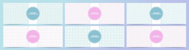 Pink and blue banners with multiple pattern styles vector